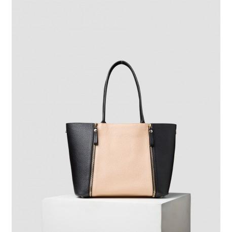 Le S - Sac en cuir réversible - Noir/Poudré