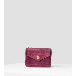 Mini-porte monnaie velours-bubble betterave et griotte