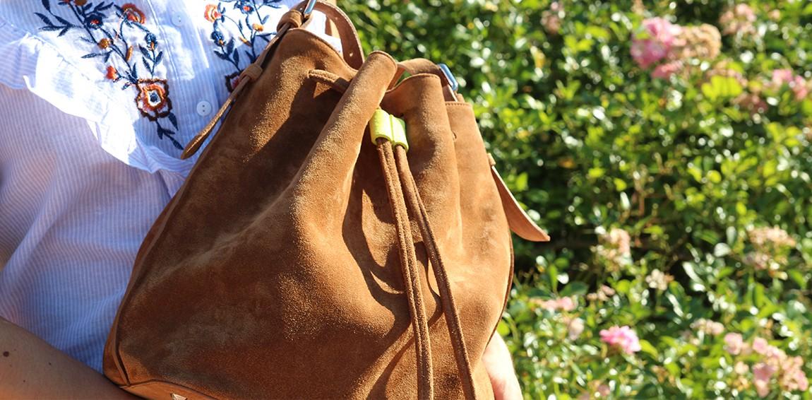 Bucket bag 356 croûte velours cognac Fluo