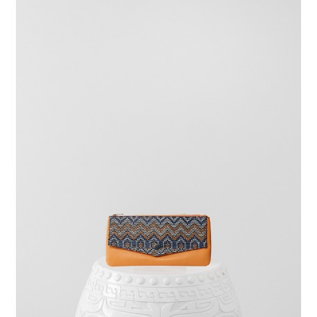 Portefeuille Gambetta rafia et lisse orange