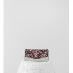 Portefeuille Gambetta velours-laine synthétique écaille & kilt